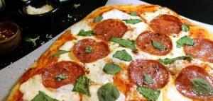 Pepperoni, Burrata and Basil Pizza