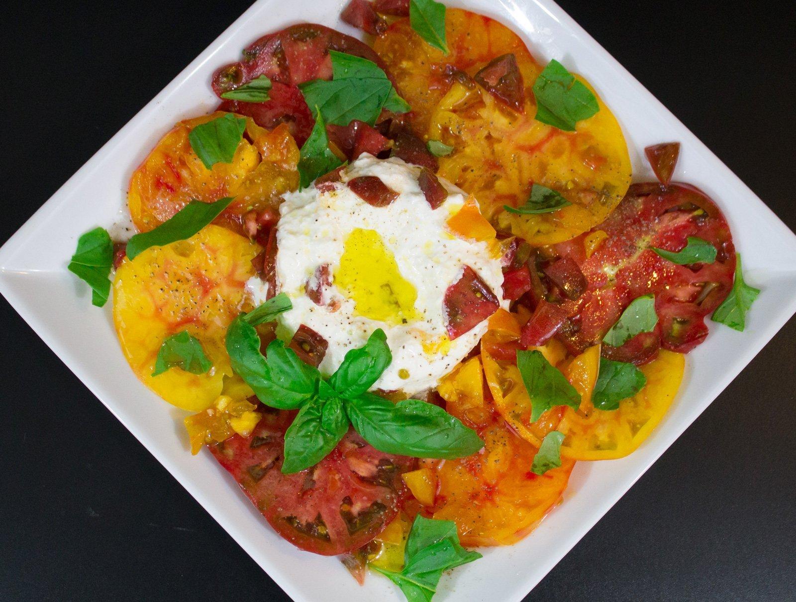 Heirloom Tomato and Burrata Appetizer