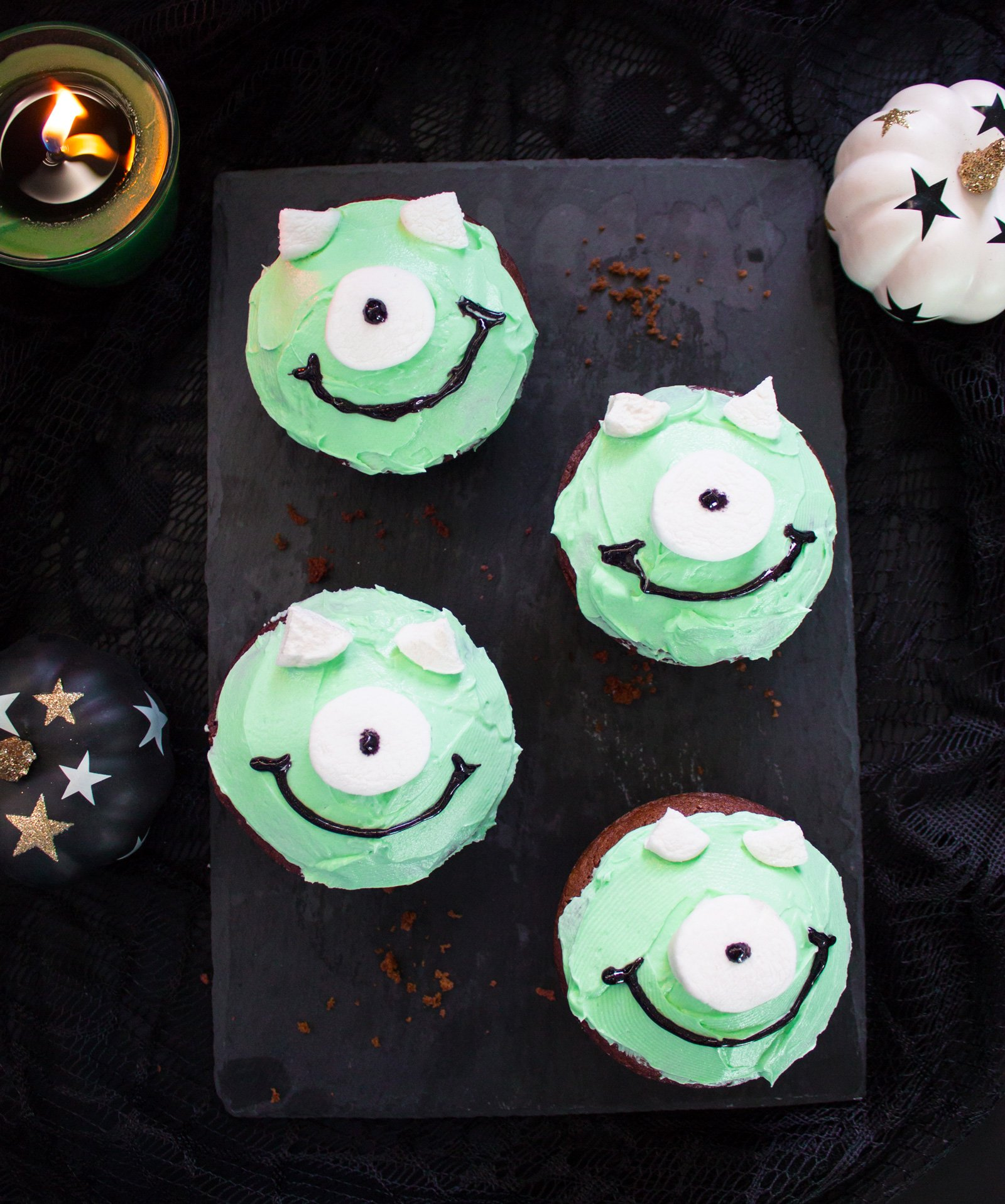 Monsters Inc. Chocolate Marshmallow Cupcakes