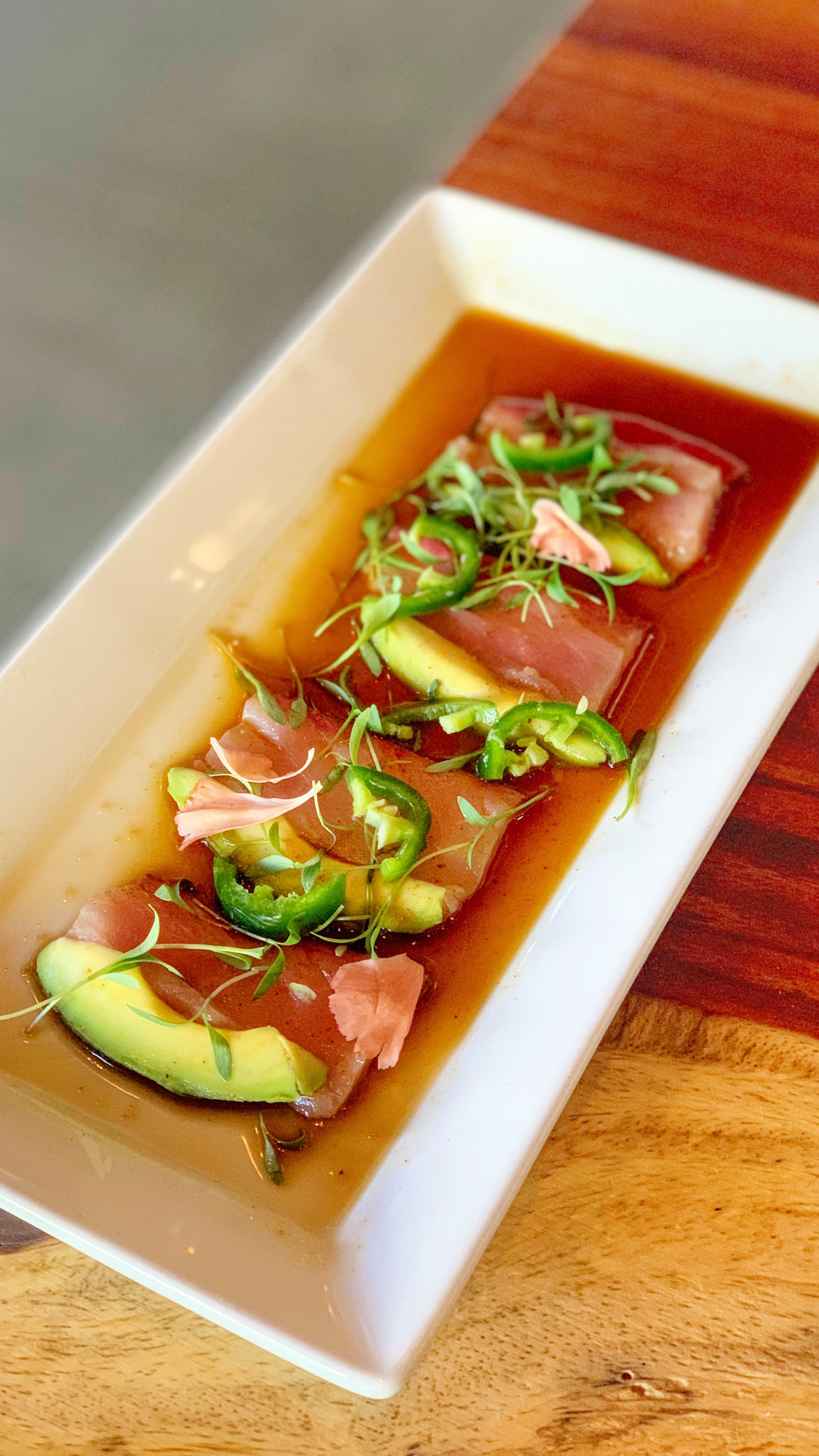The Yellowtail Carpaccio from Osetra Seafood & Steak