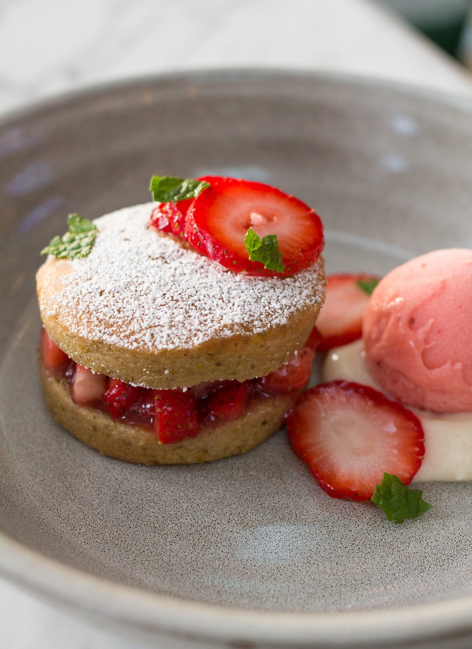 The Vegan Strawberry Shortcake from The Henry Restaurant In Coronado