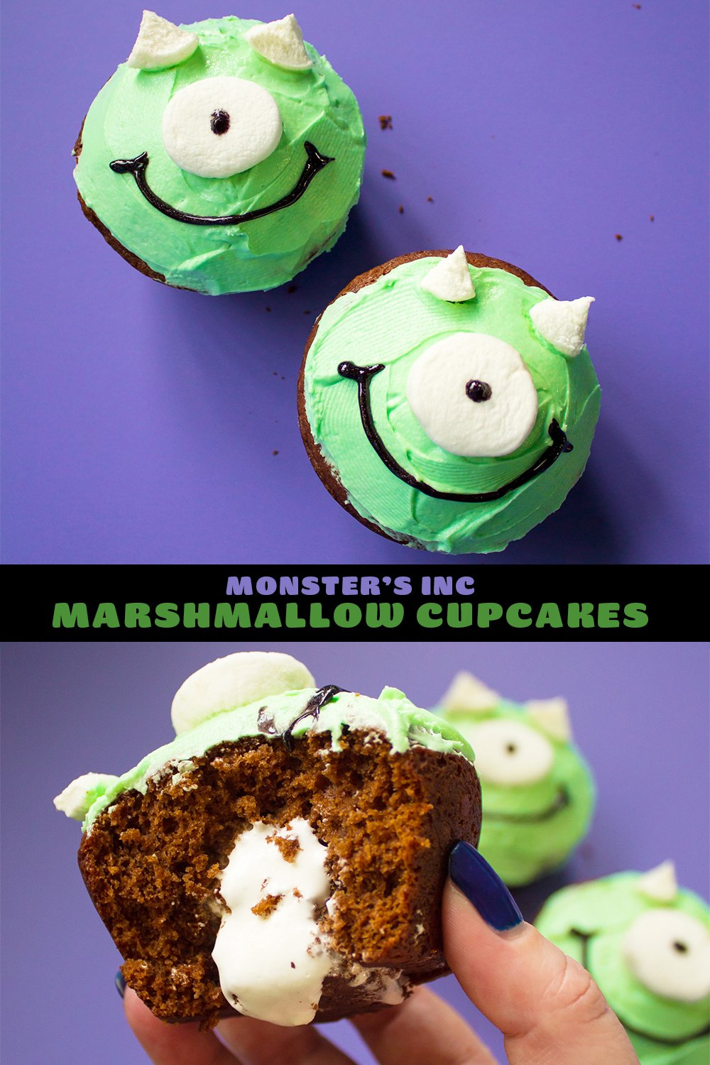 Monster's Inc Mike Wazowski chocolate marshmallow cupcakes