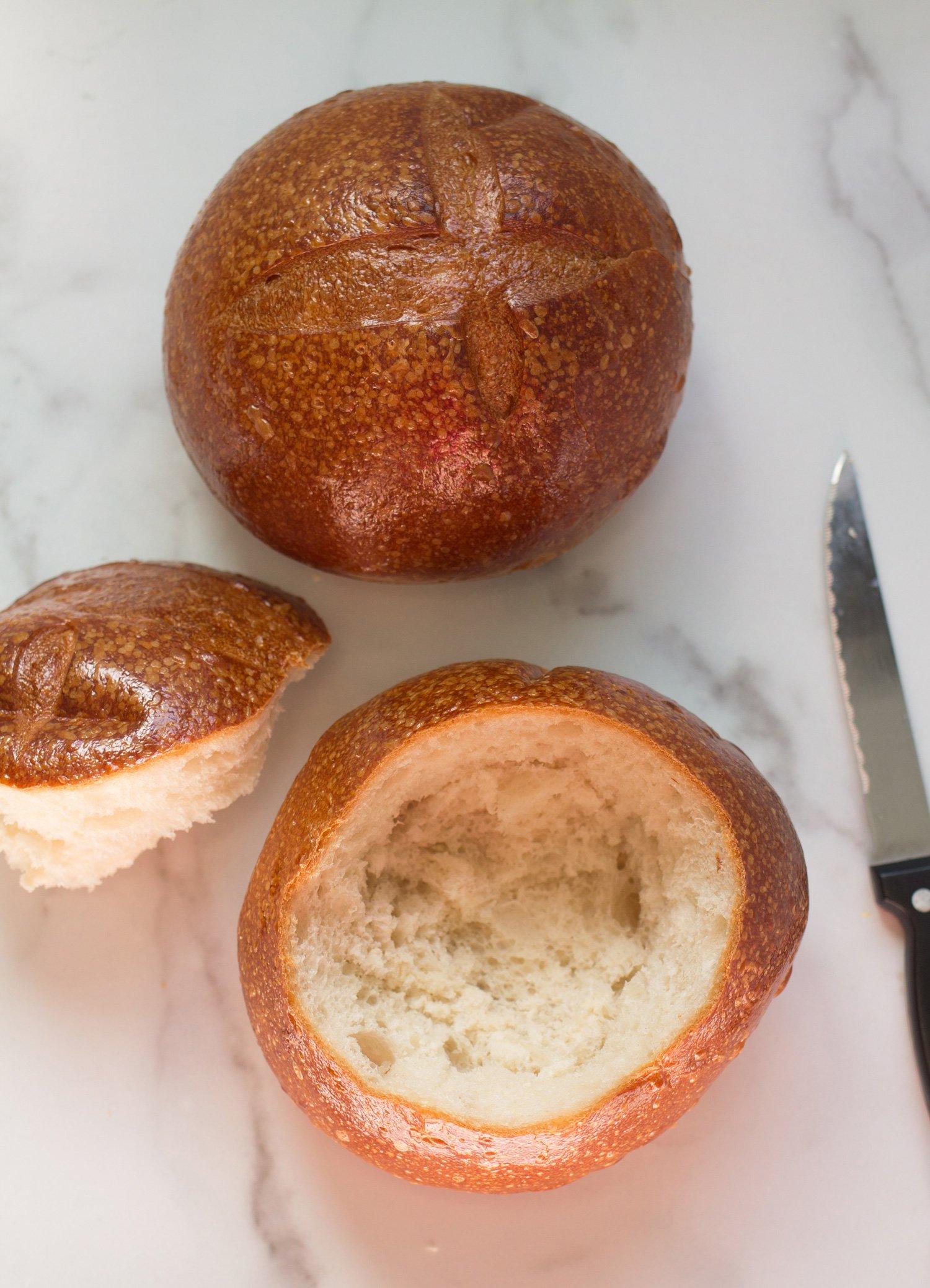 Fresh bread bowls