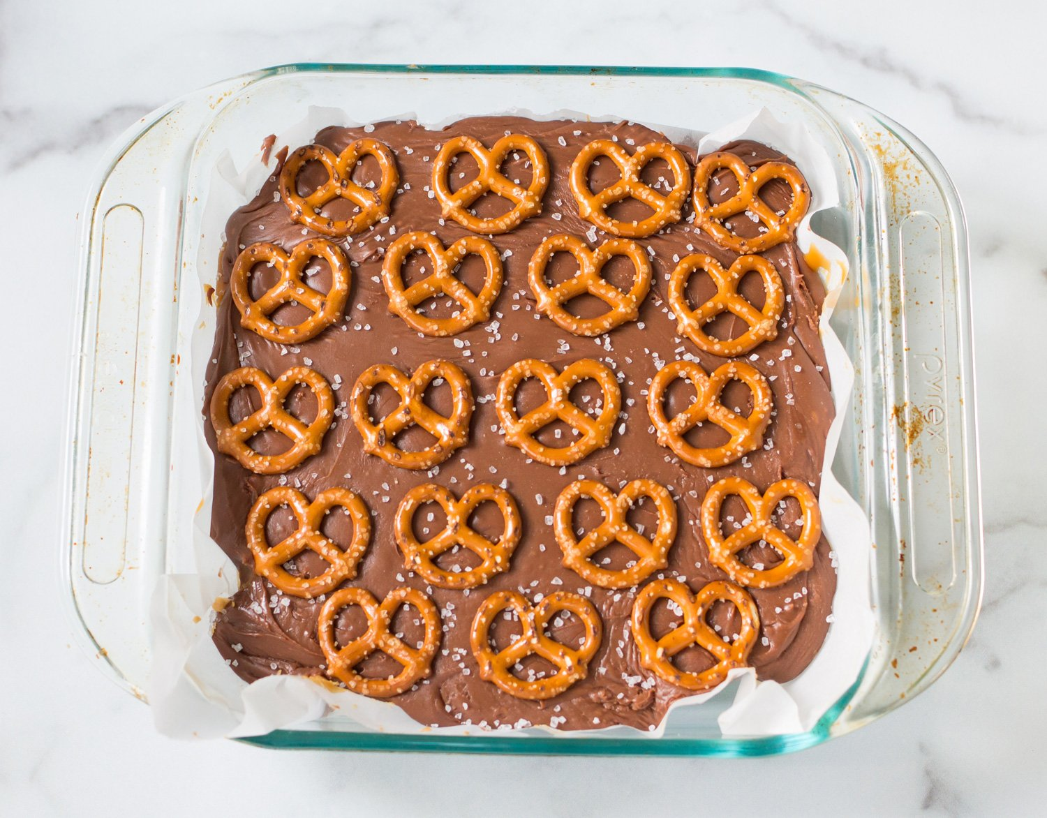 Salted Chocolate Caramel Pretzel Bars in a Glass Baking DIsh