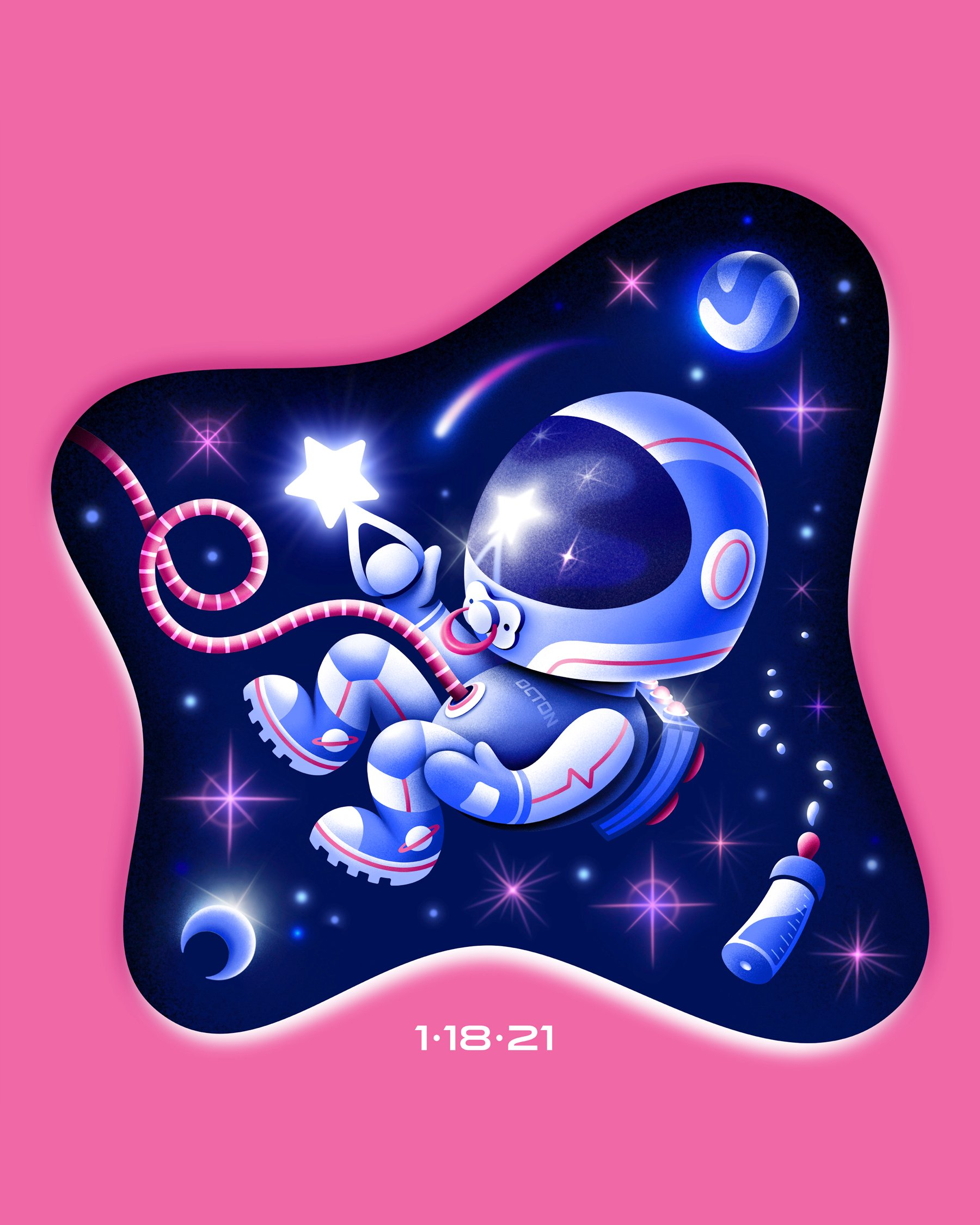 An illustration of a baby astronaut floating in space, holding a star rattle.