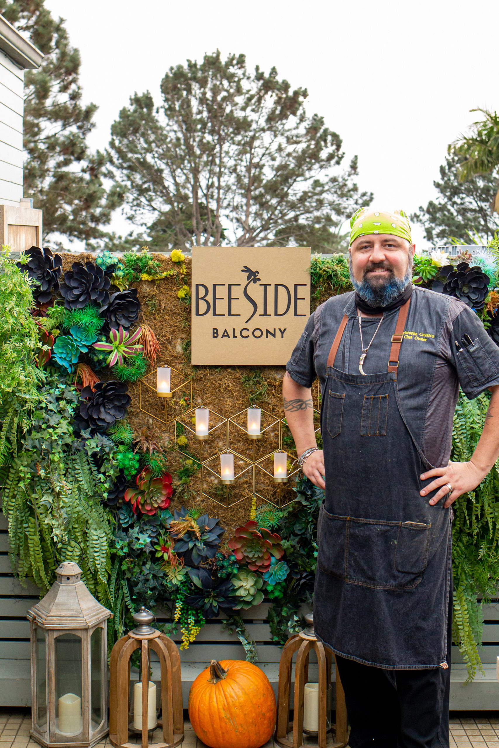 Chef Christophe in front of the Beeside Balcony Entrance