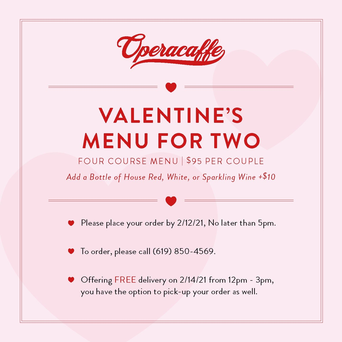 Operacaffe Valentine's Day Menu For Two